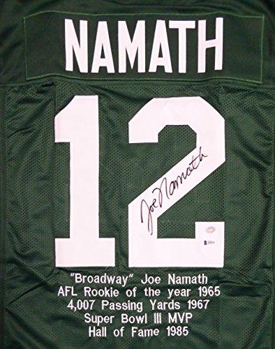 New York Joe Namath Autographed Green Jersey Sewn In Stats - Beckett COA ()