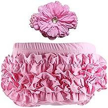 Wennikids Baby Girls' Cotton Ruffle Diaper Covers Headband Set - Multicolor