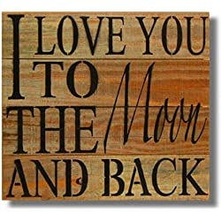 "Rustic Wall Co. Reclaimed Wood Wall Art, ""I Love You To the Moon and Back"", Handmade 14 x 14"