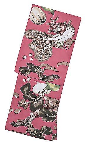 ガイダンス遠近法ジェム[ KIMONOMACHI ] オリジナル 浴衣セット「浅蘇芳色野菜」S 女性浴衣3点セット 浴衣+浴衣帯+下駄フリーサイズ_GT-F_
