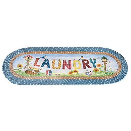 Laundry Day Rug - Collections Etc Cheerful Laundry Day Outdoor Scene Braided Runner Rug with Tan and Blue Border - Cute Accent for Laundry Room