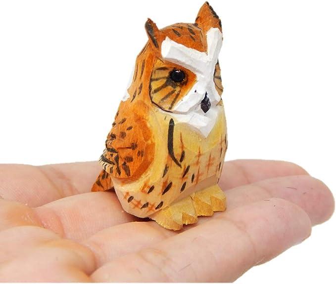 Dark Wood Carved Horned Owl Figurine