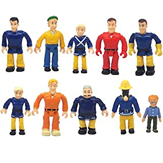 FUNERICA Set of 10 Fireman and Family People Toy Figures   Fireman /Firehouse Toy for Kids   Fireman Party Supplies Figurines