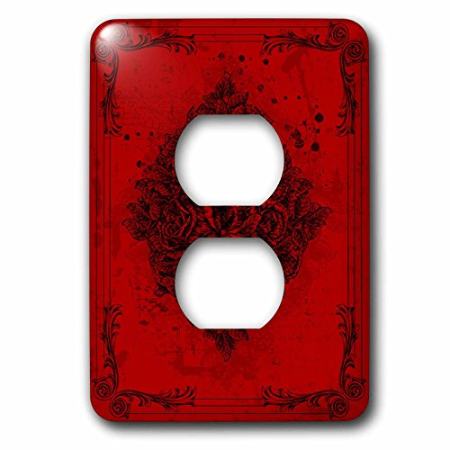 3dRose lsp_78084_6 A Diamond Shape Of Roses With Flourish Frames On Red 2 Plug Outlet Cover