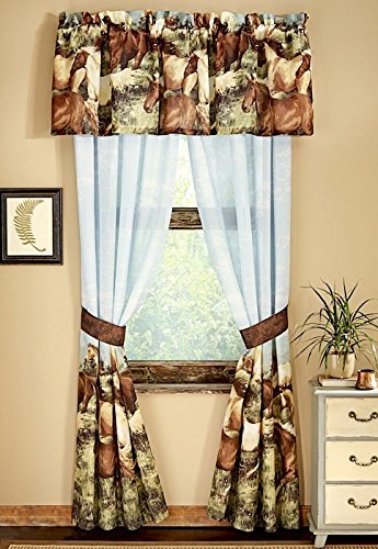 (Majestic Running SHOW HORSES & PONIES Brown Window Treatment 4pc Unlined Drapes Set 84