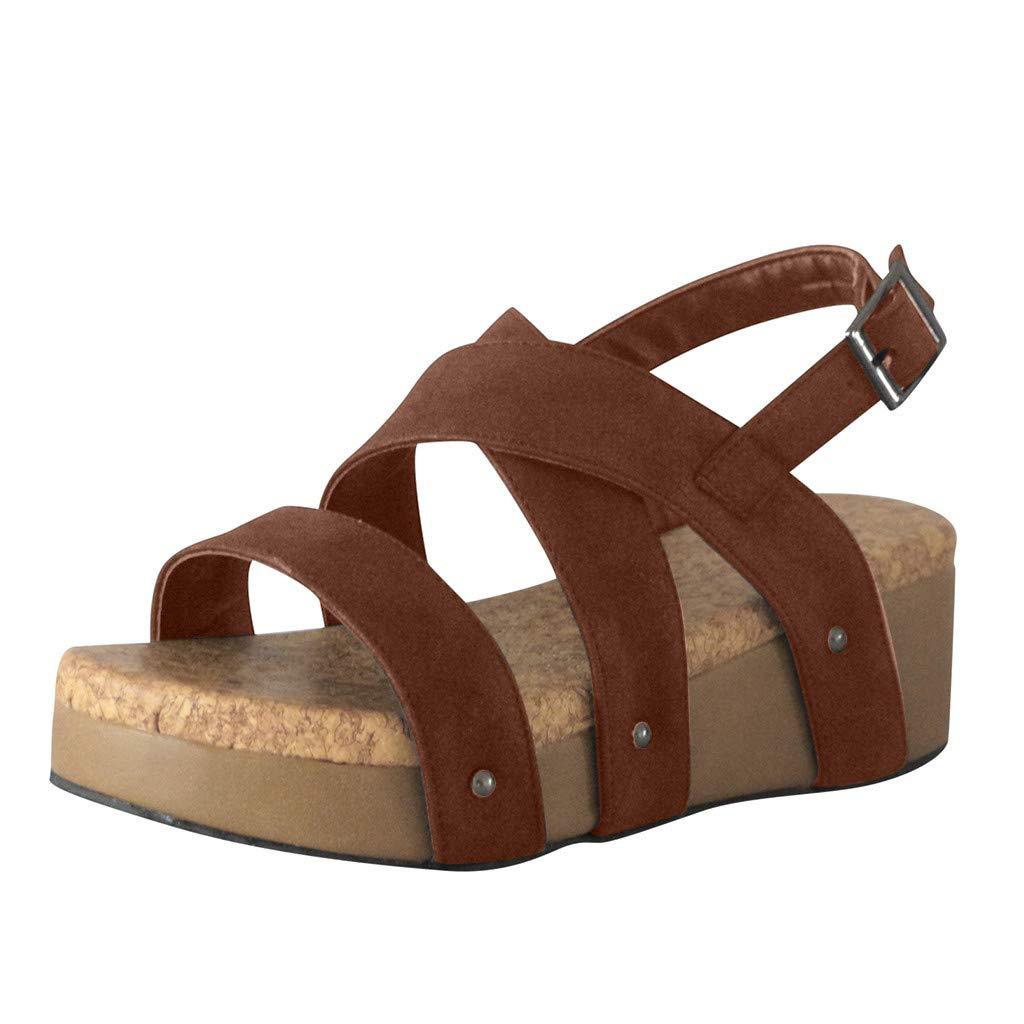 ✔ Hypothesis_X ☎ Women's Adjustable Ankle Strap Wedge Comfort Sandal Open Toe Summer Cork Flatform Sandal Brown