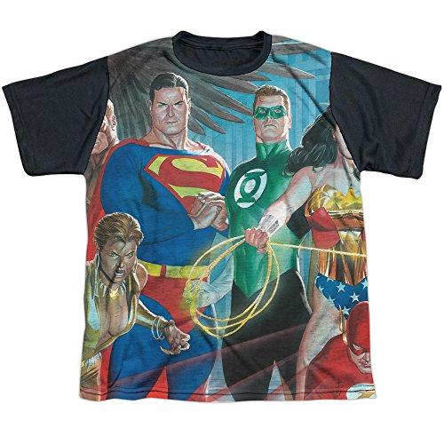 DC Comics Justice League Heroes Alex Ross Art Boys Youth Black Back T-Shirt Tee