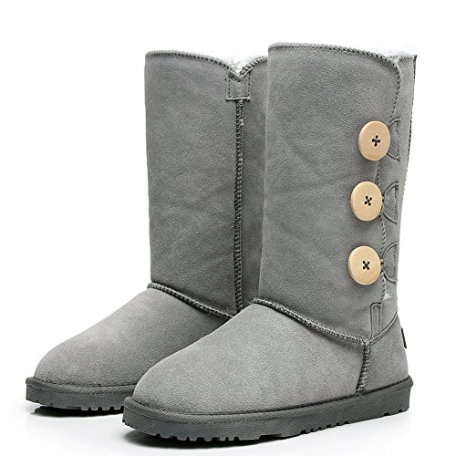 Lined Snow Fashion Women's High Knee Thick Winter Button Suede Three Grey Boots Fur Shenn UHwzR