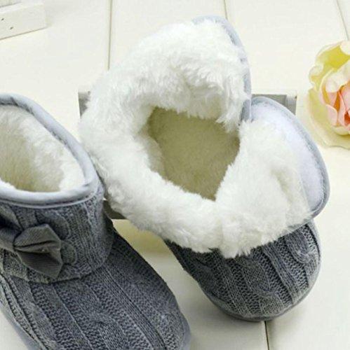 Soft Sole Stiefel Baby Grau Zolimx Bowknot Schuhe Grau Winter 11 Warm qO7Zwx