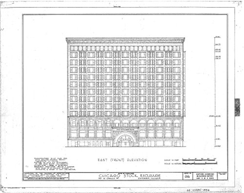 Lasalle Bank Chicago (historic pictoric Blueprint Diagram HABS ILL,16-CHIG,36- (sheet 3 of 4) - Chicago Stock Exchange Building, 30 North LaSalle Street, Chicago, Cook County, IL 44in x 32in)