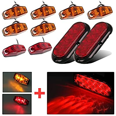 "Partsam 6"" Stop Turn Brake Tail Light , Led Marker Light , Flange Mount ,Sealed 12V, Kit"
