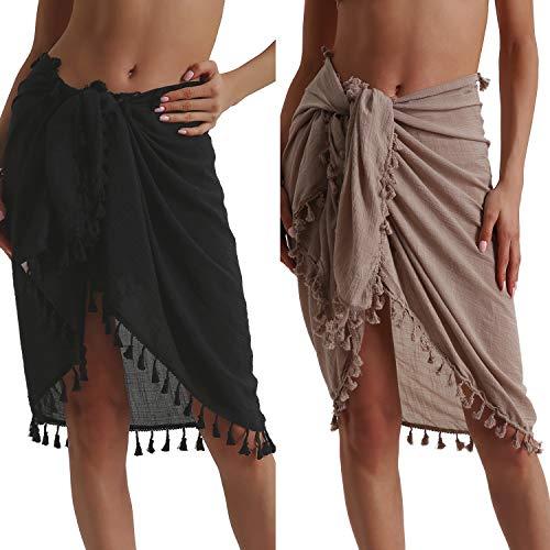 Eicolorte Beach Sarong Pareo Womens Linen Cotton Swimwear Cover Ups Short Skirt with Tassels (Black+Khaki-Short)