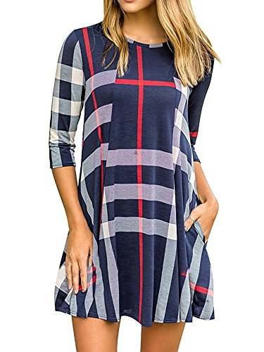 Salimdy Women's Plaid Patchwork Mini Dress 3/4 Sleeve Color Block Grid Tunic Dress #2 Navy Blue (3/4 Sleeve Mini Sweater)