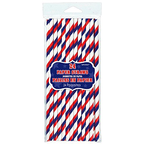Patriotic Straw - Amscan Patriotic Red White Blue Paper Straws 24/pkg
