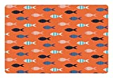 Ambesonne Peach Pet Mat for Food and Water, Fishes Motif Nautical Marine Sea Underwater Creature Animal Aquarium Ornate Forms, Rectangle Non-Slip Rubber Mat for Dogs and Cats, Multicolor