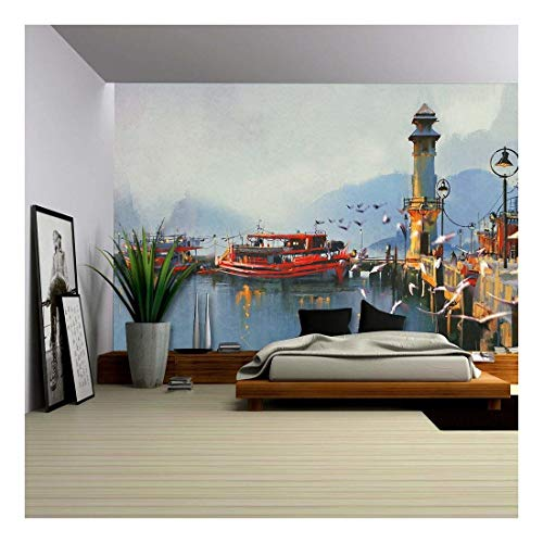 Watercolor Harbor - wall26 - Fishing Boat in Harbor at Morning,Watercolor Painting Style - Removable Wall Mural   Self-Adhesive Large Wallpaper - 66x96 inches