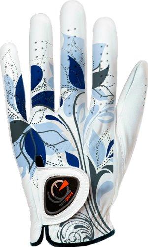 Custom Golf Gloves - easyglove SPRING_FLORA-BLUE-W Women's Golf Glove (White), Medium, Worn on Left Hand