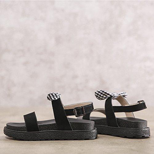 Cybling Womens Komfort Öppen Tå Ankelbandet Plattform Kil Bowknot Sandaler Svart