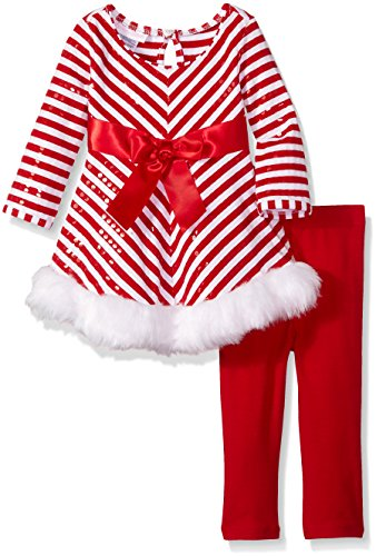 Bonnie Baby Baby Girls' Candy Cane Striped Playwear Set, Red 18 -