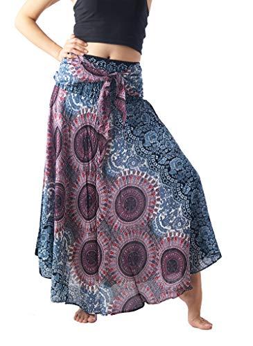 Bangkokpants Women's Long Hippie Bohemian Skirt Gypsy Dress Boho Clothes Flowers One Size Fits Asymmetric Hem Design (Bohorose Light Grey, Plus Size)