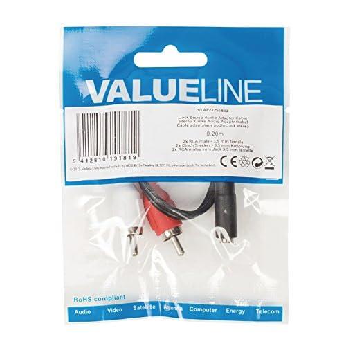 Valueline VLAP22255B02 adaptador de cable - Adaptador para cable (2 x RCA, 3.5mm, Macho/hembra, Negro, Rojo, Color blanco)