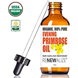 CERTIFIED ORGANIC EVENING PRIMROSE OIL - by Renewalize in LARGE 4 OZ. DARK GLASS BOTTLE | Cold Pressed | Essential All Natural Moisturizer for Hair , Skin and Nails | Rosacea Psoriasis Eczema Relief