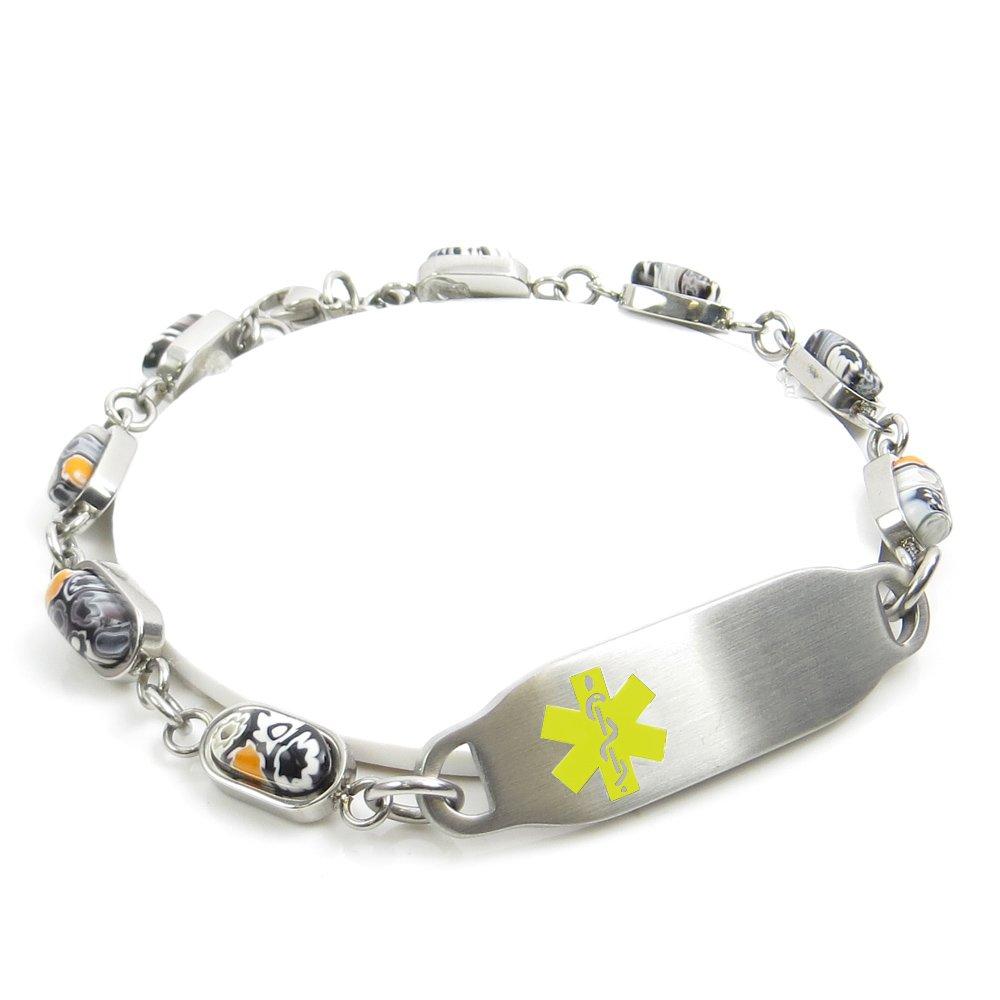 Yellow Black//White Millefiori Glass Pre-Engraved /& Customized Blood Type AB Bracelet My Identity Doctor