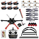 QWinOut Unassembly ARF (No Battery) DIY 2.4G 6Ch KK Multicopter Flight Control F550 Air Frame RC Hexacopter DIY Multicopter Drone Combo Set with Tall Landing Skid
