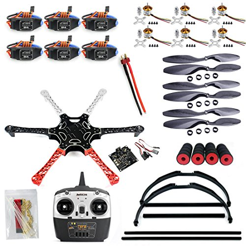QWinOut Unassembly ARF (No Battery) DIY 2.4G 6Ch KK Multicopter Flight Control F550 Air Frame RC Hexacopter DIY Multicopter Drone Combo Set with Tall Landing Skid by Qwinout