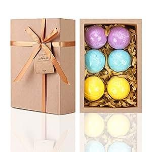 LAVEN Organic Bath Bomb Gift Kit, 3 Scents (Eucalyptus, Lavender and Orange) - 6 Pack