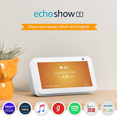Echo Show 5 (1st Gen, 2019 release) – Smart speaker with Alexa – 5.5″ screen, crisp sound and 1MP camera (White)