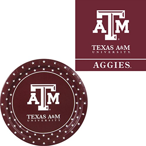 - Westrick Texas A&M Aggies Napkins & Plates for 32 Guests - 64 Pieces