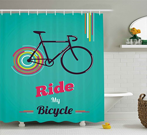 Ambesonne Vintage Shower Curtain, Ride My Bicycle Theme Poster Style Retro Bike Hipster Art Illustration, Fabric Bathroom Decor Set with Hooks, 75 Inches Long, Teal Hot Pink Black