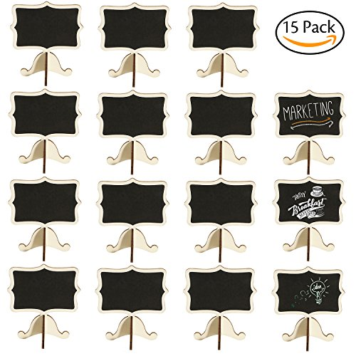 Event Menu Card (Leyaron 15 Pack Mini Chalkboards Place Cards with Easel Stand - Wood Rectangle Small Chalkboard Signs for Wedding, Birthday Parties, Table Numbers, Food Signs and Special Event Decoration)