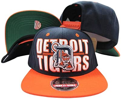 Detroit Tigers Block Two Tone Plastic Snapback Adjustable Plastic Snap Back Hat/Cap