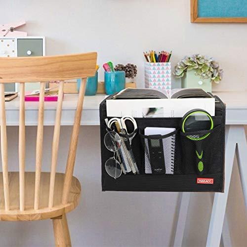 HAKACC Bedside Organiser, Black Bedside Pocket Bedside Storage Organiser for Bunk Bed Sofa Sorting Book Phone Tablet Glasses