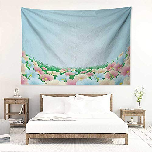 alisos Garden,Tapestries Curvy Fresh Meadow with Pastel Colored Daisies Pansies Yard Growth Countryside Art 80W x 60L Inch Print for Living Room Bedroom Dorm Multicolor