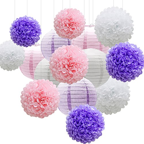 KAXIXI Hanging Party Decorations Set, 15pcs Pink Purple White Paper Flowers Pom Poms Balls and Paper Lanterns for Wedding Birthday Bridal Baby Shower Graduation -