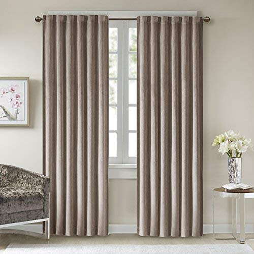 (Comfort Spaces Poly Velvet Window Curtain and Tie Back Set Energy Efficient Saving Panel Pair with Rod Pocket, 50