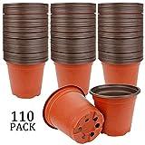 "Augshy 110 Pcs 4"" Plastic Plants Nursery Pot,Seed Starting Pots"