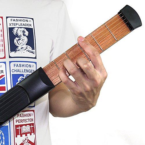 Pocket Guitar Practice Tool Portable Chord Trainer Guitar Finger Exercise & Chords Practice Tool 6 String 6 Fret Black