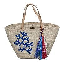 Kiki Boho | Blue Coral Tote, con coral bordado de decoración y un llavero