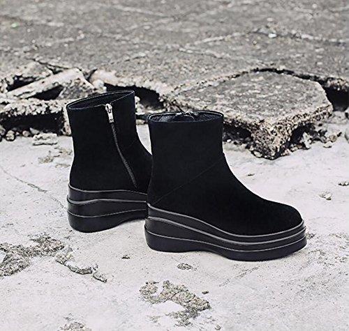 KHSKX-Schwarz 7 Cm Runder Kopf Dicke Frauen Schuhe Seite Reißverschluss Kurze Barrel Stiefel Erhöhte Martin Stiefel Und Blanken Stiefel Einzelne Schuhe 39