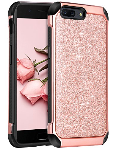 OnePlus 5 Case, BENTOBEN Slim Heavy Duty Shockproof Luxury Sleek Glitter Sparkly Bling Cute Shiny 2 in 1 Soft TPU Bumper Hybrid Hard PC with PU Faux Leather Protective Phone Cover, Rose Gold