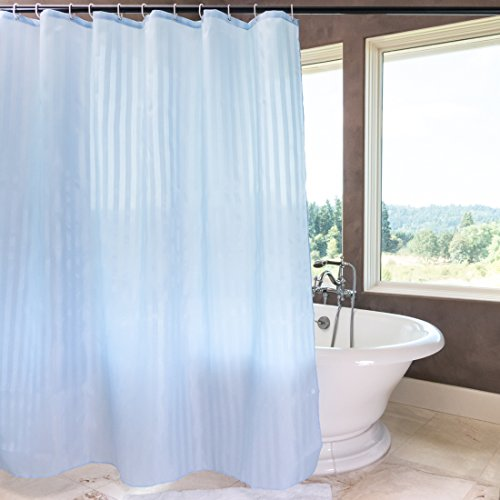 71 x 71 in. Stripes Fabric Shower Curtain Blue