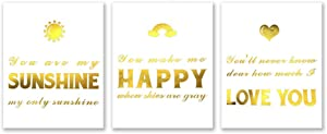LHIUEM You Are My Sunshine Motivational Quotes Gold Foil Art Print,Rainbow Picture Inspirational Phrase Poster Cardstock Painting For Living Room Bedroom Wall Decor(8 X 10 inch,set of 3,UNframed)