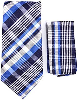 Plaid Necktie & Matching Pocket Square Handkerchief Set