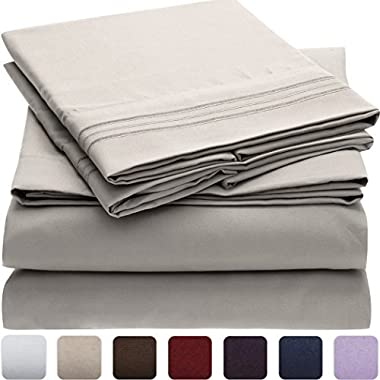 Mellanni Bed Sheet Set - HIGHEST QUALITY Brushed Microfiber 1800 Bedding - Wrinkle, Fade, Stain Resistant - Hypoallergenic - 4 Piece (Queen, Light Gray)