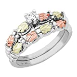 CZ Wedding and Engagement Ring Set, Sterling Silver, 12k Green and Rose Gold Black Hills Gold Motif, Size 8