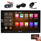 Front & Rear Camera included! Android 6.0 Double Din Car Stereo with 7'' Touch Screen In Dash GPS Navigation Entertainment Radio Receiver with External Microphone Support Bluetooth WiFi Mirror Link